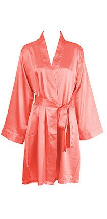 Coral Silk Robes Monogrammed - Silk Robes for Bridesmaid - Satin Bridesmaid Robes - Bridesmaids Robes - Bridesmaid Robe