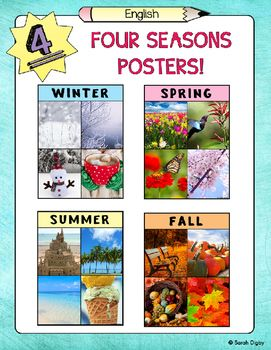 Four English posters of each of the four seasons! Perfect for any early classroom. Real pictures also make these posters great for ELLs/Emergent Bilinguals! Spanish and bilingual versions also available.