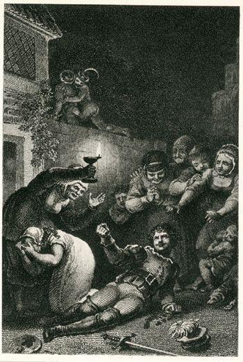 Johann Heinrich Ramberg, Zeichnungen zu Goethes Faust, Nacht, Straße vor Gretchens Türe, Valentins Tod, Kupferstich von Josef Axmann