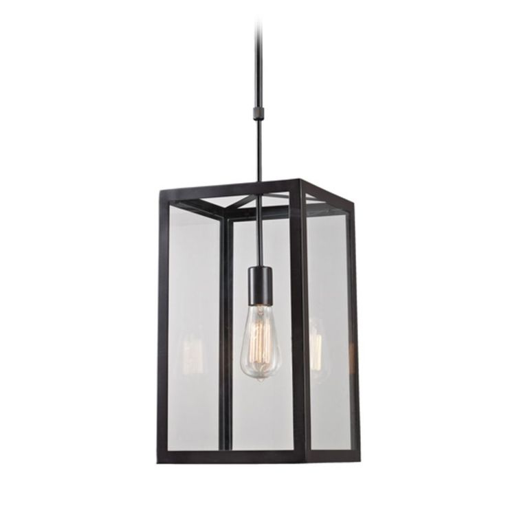 Pendant Light with Clear Glass in Bronze Finish   63022-1   Destination Lighting