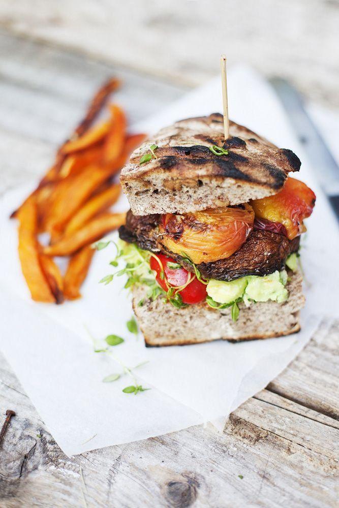Portobello peach burger