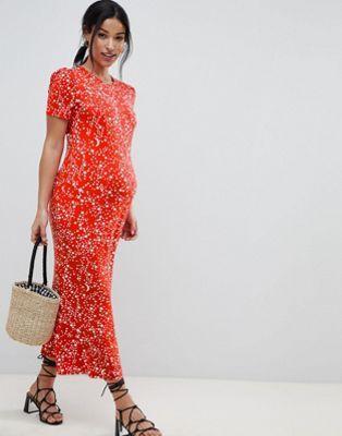 ee9c17b01b5ce DESIGN Maternity city maxi tea dress in star print | Maternity ...