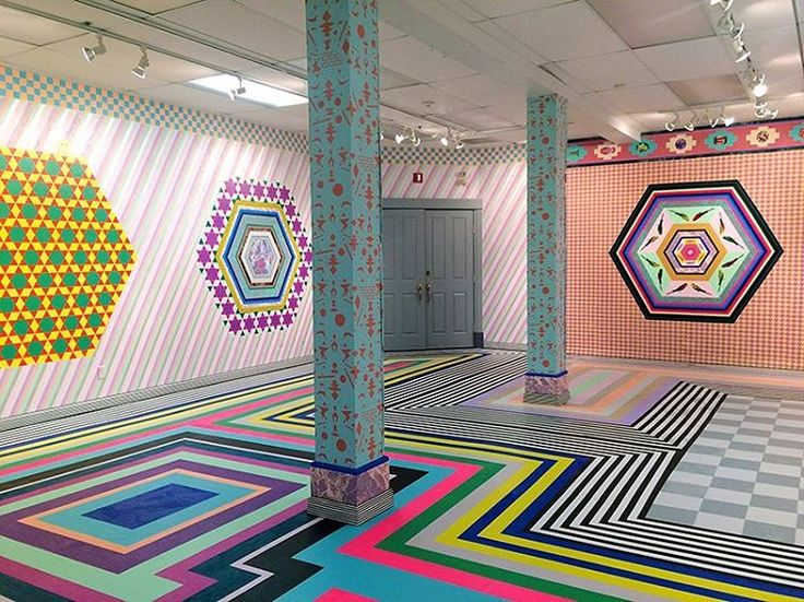Installations by Dominique Petrin Photo from www.dominiquepetrin.com #colorfulinterior #colorfulart #installation #stripes #supergraphics #interior #interiordesign #archidaily #archilovers