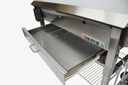 Heatlie BBQ Warming Drawer  Handy Optional Xtra for your Heatlie Flat Top BBQ. This Warming Drawer is handy to keep food warm pre serving and after use, provides necesary storage on the go.