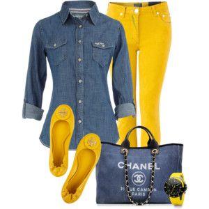 Amarilla y pantalones vaqueros