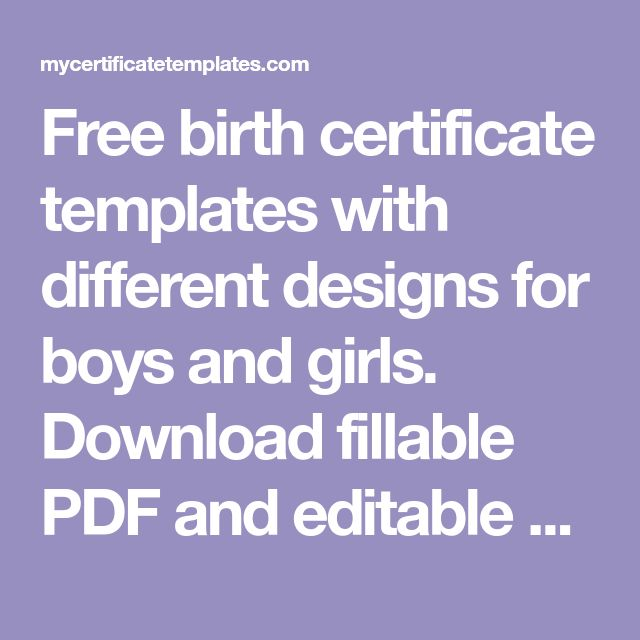 Free Birth Certificate Templates With Different Designs