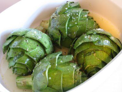 For the Love of Cooking » Baked Artichokes with Lemon, Garlic and Basil