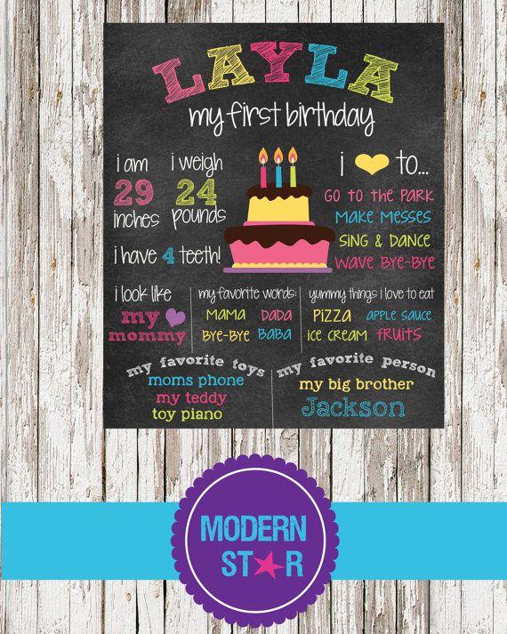 First Birthday Personalized Chalkboard Sign by ModernStarPrint
