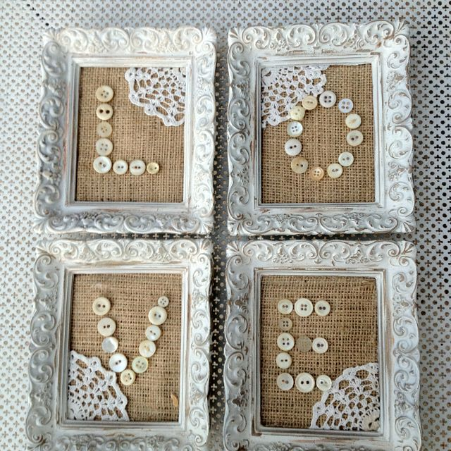 DIY Burlap, vintage buttons & LOVE!  Perfect! www.facebook.com/thesilvernest484