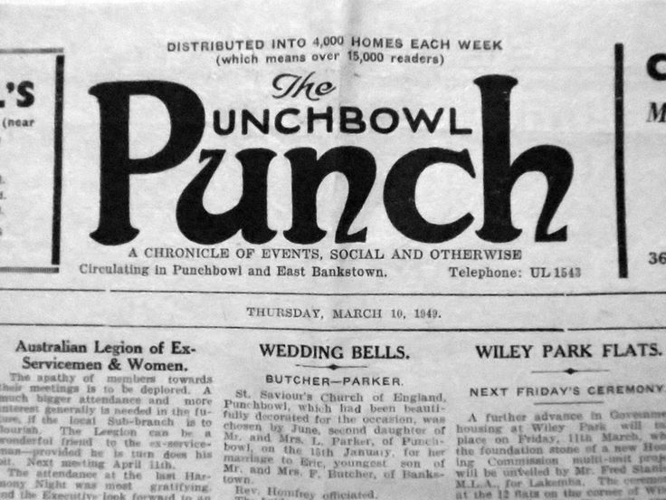 The Punchbowl Punch, 10 March 1949, vintage newspaper.