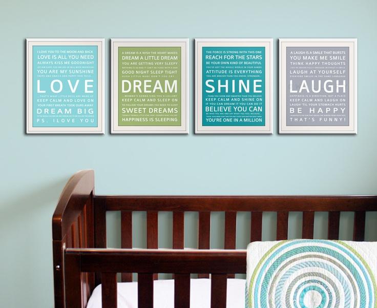 Baby nursery decor. Nursery art, nursery wall art, nursery prints. Inspirational prints for kids. Children art 4- 11x14 prints by WallFry. $60.00, via Etsy.