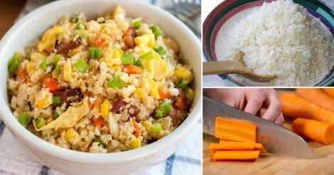 Una receta deliciosa baja en hidratos para preparar un salteado sustituyendo el arroz por granos de coliflor.