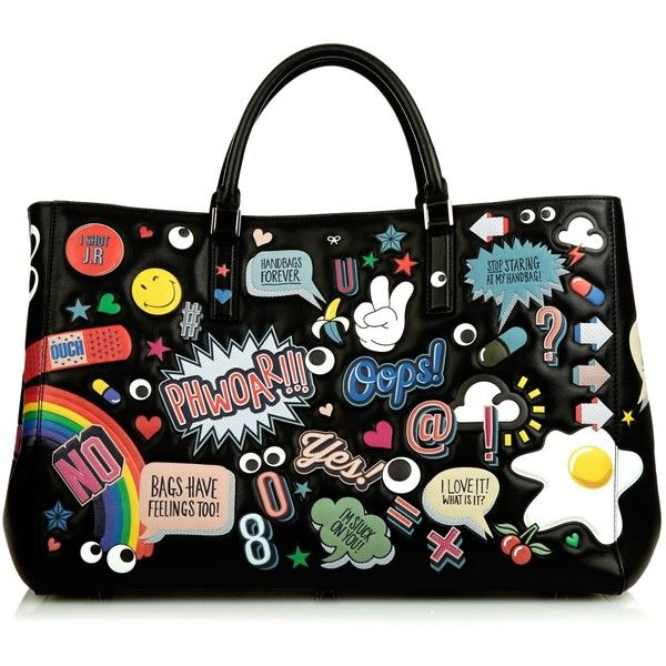 Anya Hindmarch All-Over Stickers Maxi Featherweight Ebury tote ($2,842) ❤ liked on Polyvore featuring bags, handbags, tote bags, anya hindmarch handbag, anya hindmarch, tote purse, handbags tote bags and tote bag purse