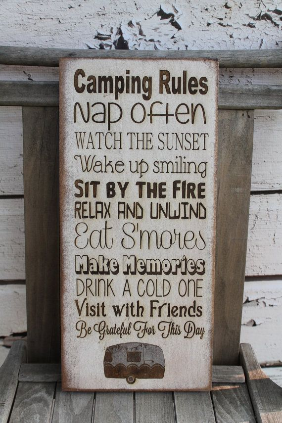 Whats your Camping, Cottage, Cabin, Lake, Beach, Resort rules just note when you order what you would like yours to say.  Want to add a name?? Sure! Want to change all the rules?? Sure we would love too!!  We can fit 6-10 sayings 3-4 words long  ~~~~~~~~~~~~~~~~HOW TO ORDER~~~~~~~~~~~~~~~~~~~ Select the size and wood from drop down Select aging from drop down 1. In the notes field please list your rules/changes/additions 2. Background Color 3. Text Color 4. Computer Proof Yes or no  (Example…