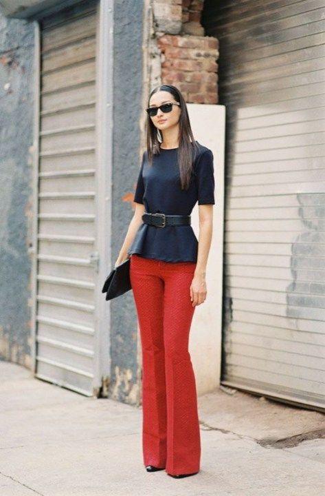 ClioMakeUp-pantaloni-zampa-jeans-flared-rossi
