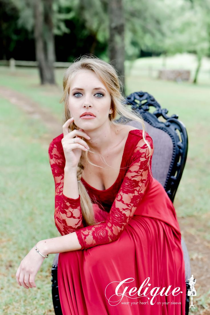 Sweetheart neckline. Diana dress from Gelique is available at Brides of Somerset. Beautiful classical option for your bridesmaids. Red lace long sleeved bridesmaids dress.