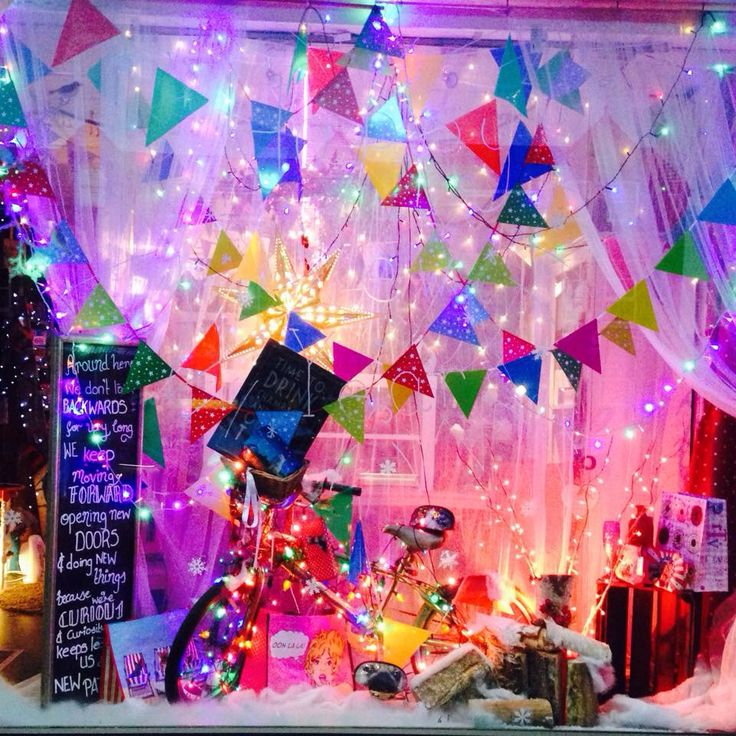 Happy New Year Celebrations window display at night