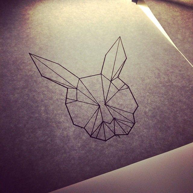 Geometric Rabbit Tattoo