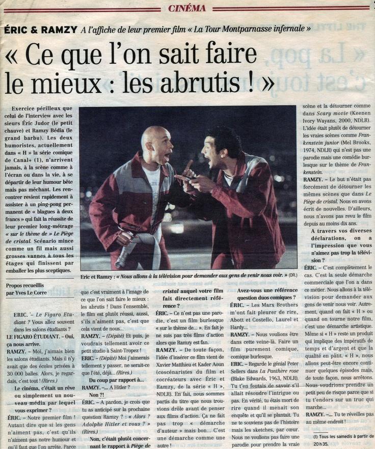 Interview Eric& Ramzy autour de leur film La Tour Montparnasse Infernale - Figaro étudiant.