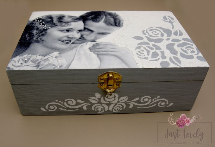 Wooden tea box,Vintage box,lovers,decoupage box by JustLovelyHandmade on Etsy