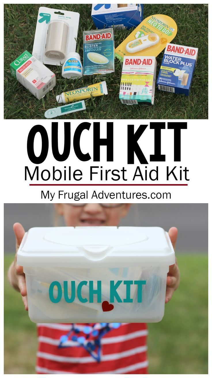 DIY Mobile First Aid Kit-- keep everything you need right in the car for sports, summer travel and activities.  Includes a free printable checklist of supplies to consider so you are prepared for any mishaps this summer!