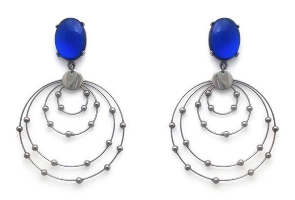 Pluma Bijoux, brinco, azul, órbita