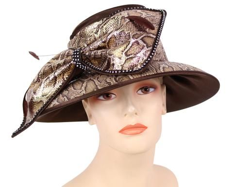 NEW-Women's Satin Animal Print Church Derby Hats #HL117 – Hats