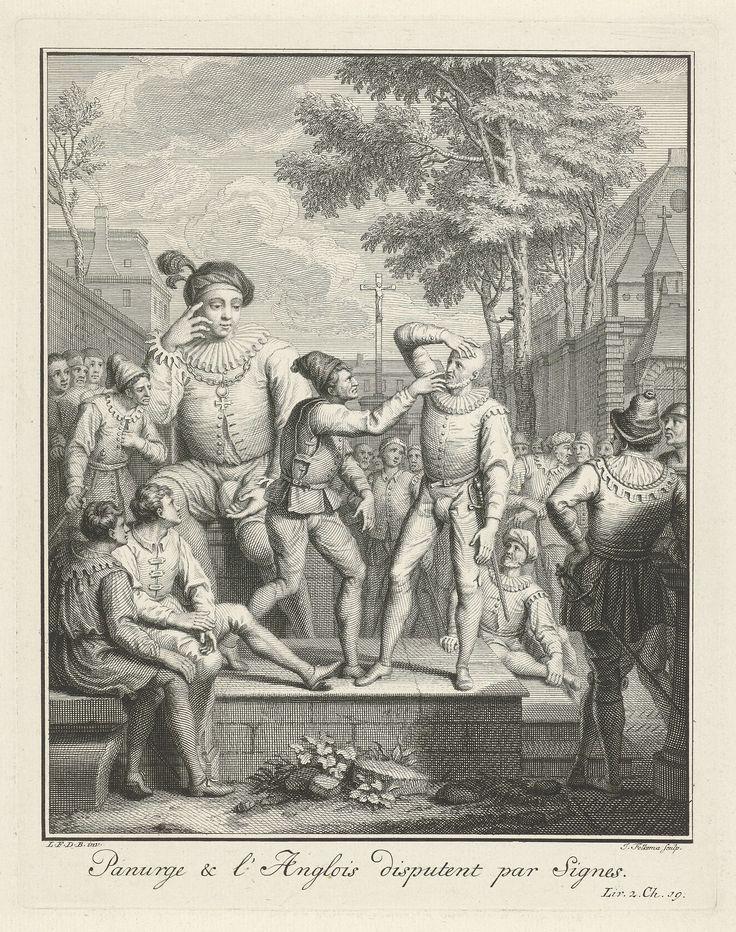 Jacob Folkema | Panurge inspecteert het gezicht van de Engelsman, Jacob Folkema, 1703 - 1767 | Panurge inspecteert het gezicht van een Engelsman en steekt daarbij zijn vinger in zijn neus. De reus Gargantua zit achter dit tweetal op een muurtje en kijkt samen met een groep nieuwsgierige mensen toe. In de marge staat een regel tekst in het Frans, rechtsonder gemerkt: Liv. 2. Ch. 19.
