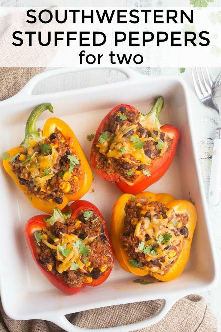 Southwestern Stuffed Peppers For Two Dinners For Two In 2020 Stuffed Peppers Stuffed Peppers Healthy Easy Stuffed Pepper Recipe