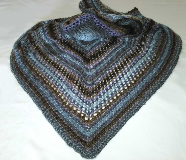 The BLUES, PURPLES AND BROWNS shawl I knitted myself