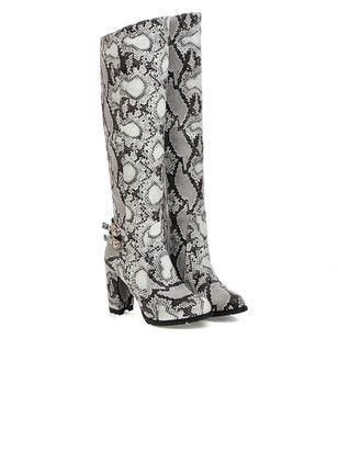 Women's Buckle Knee High Boots Leatherette Chunky Heel Boots – Off-white / US 6.5/7 (Label Si…