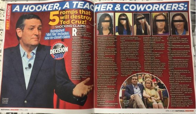 National Enquirer story on Ted Cruz's 5 mistresses partly confirmed by Washington Times  @retweetngro