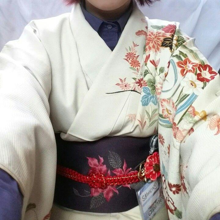 A different kimono, but same purple shirt/obi combo. Pardon the loose kitsuke.