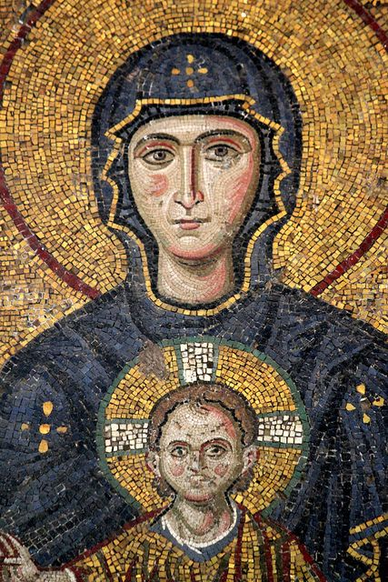 Virgin Mary holding Child Christ, detail from Comnenus mosaic, Hagia Sophia, Istanbul, 12th century