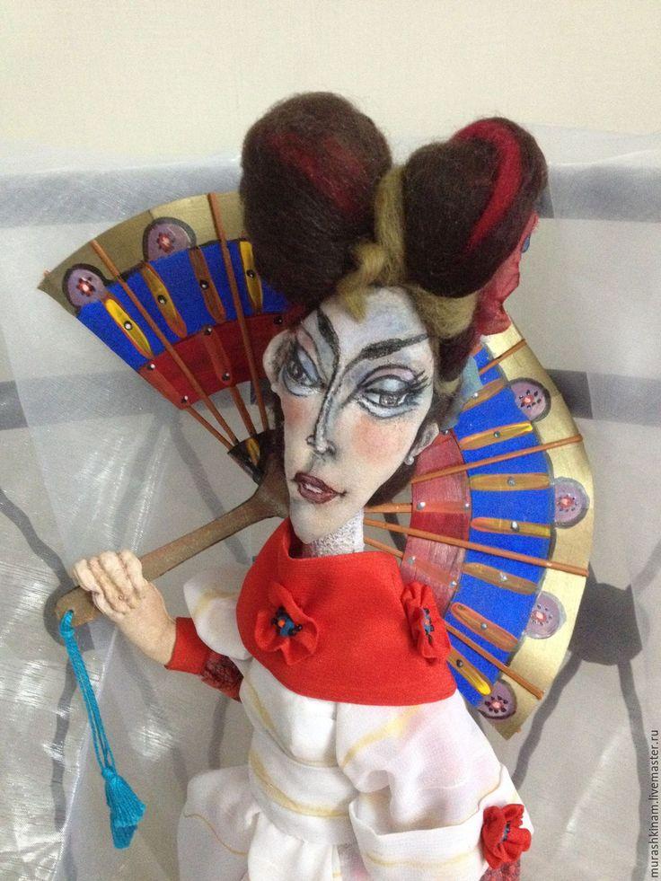 Купить САКУРА ЯПОНСКАЯ. Интерьерная текстильная кукла. - ярко-красный, авторская кукла
