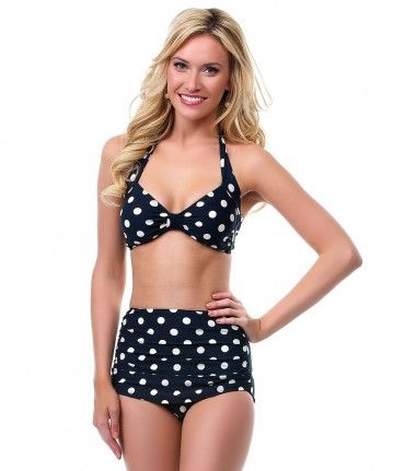 Unique Vintage offers free shipping over $150 on our 1950s black polka dot high-waist old fashioned swimsuit....Price - $82.00-H7wRU69o