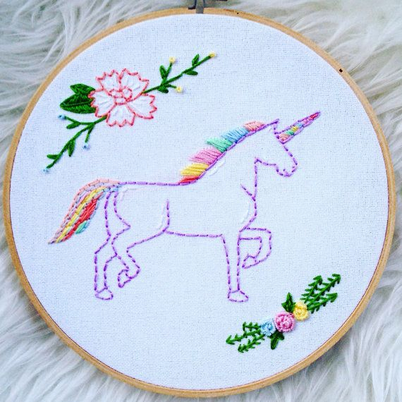 Unicorn floral embroidery hoop