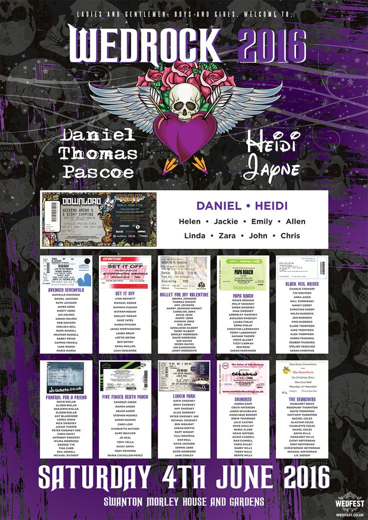 Rock n Roll and Heavy Metal Influenced Wedding SeatingPlans http://www.wedfest.co/rock-and-heavy-metal-influenced-wedding-table-plans/