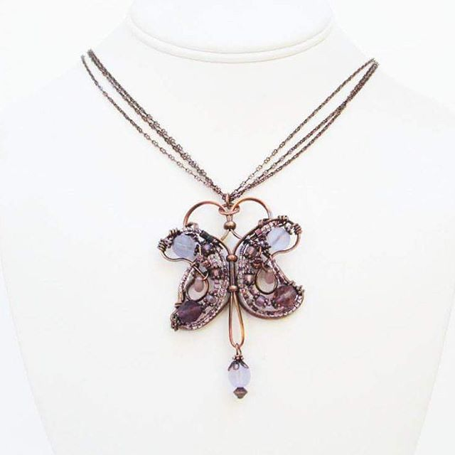 Beaded copper butterfly necklace, this one is sold but I can make one in any…