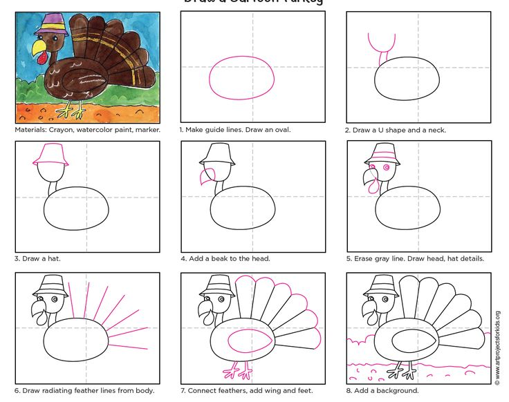 Draw a Cartoon Turkey. Download my PDF tutorial and just say no to the hand traced turkey. #turkey #thanksgiving