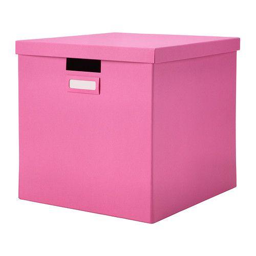 IKEA - TJENA, Låda med lock, rosa, , Perfekt för tidningar, foton eller andra minnessaker.Enkel att dra ut och lyfta eftersom lådan är stadig och har handtag.Den medföljande etiketthållaren hjälper dig att skapa överblick och hitta dina saker.