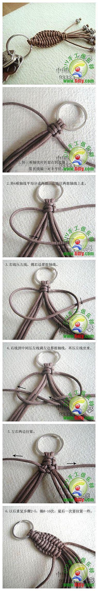 "** ""Chinese Knot"" Micro Macrame Key Chain  Jewelry @fabdiy"