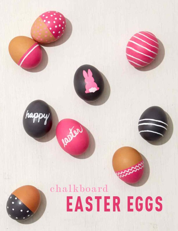 Chalkboard Easter Eggs | Martha Stewart Living - A few coats of paint is all it takes to turn ordinary eggs into mini chalkboards. The best part? You can wipe away your designs and start from scratch whenever you want a new look.