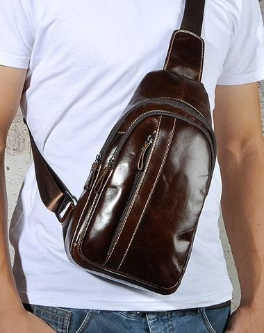 COOL LEATHER MENS SLING BAGs SLING CROSSBODY Backpack CHEST BAG FOR ... 1aa9a2bc57e22
