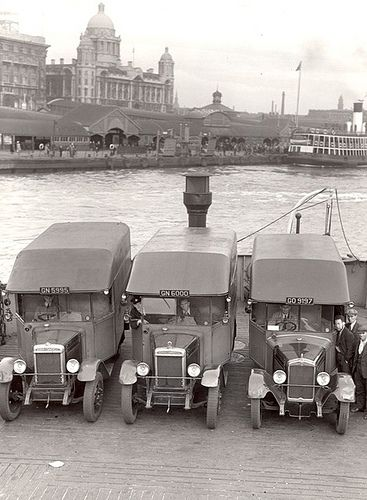 One of the last luggage boat journeys , Royal mail vans leave the landing stage on the day of the official tunnel opening day 1934