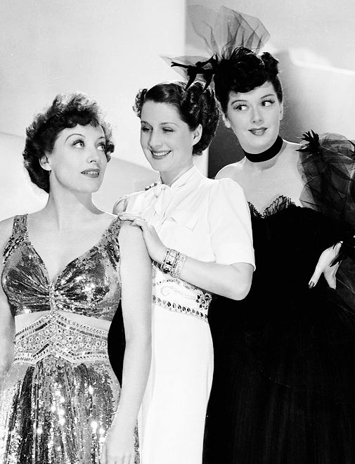 Joan Crawford, Norma Shearer and Rosalind Russell in a publicity photo for The Women (George Cukor, 1939)..