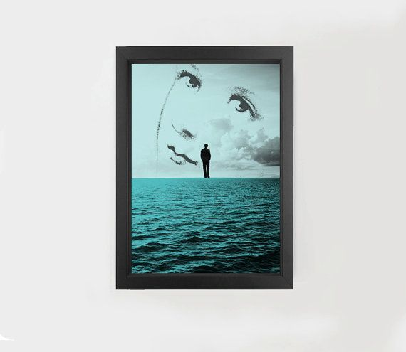 Digital download, sea collage, man alone, woman, sky blue #sea #art #collage #original #home #decor #gift #idea #blue #print #A3 #A4