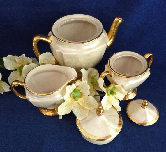 Lusterware Tea Set 22K gold Mid-Century Tea Set by KathyKupboard