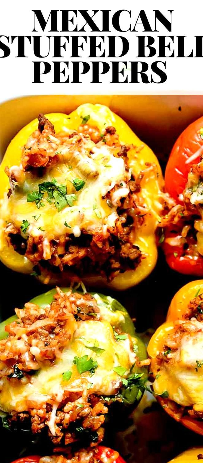 So Easy The Best Mexican Stuffed Bell Peppers Foodiecrush With Ground Beef Cheese And Rice Think Of T In 2020 Stuffed Peppers Peppers Recipes Mexican Stuffed Peppers