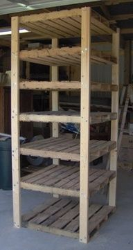 Simple, Durable, and Cheap Shelving From Wood Pallets good for prepping supplies